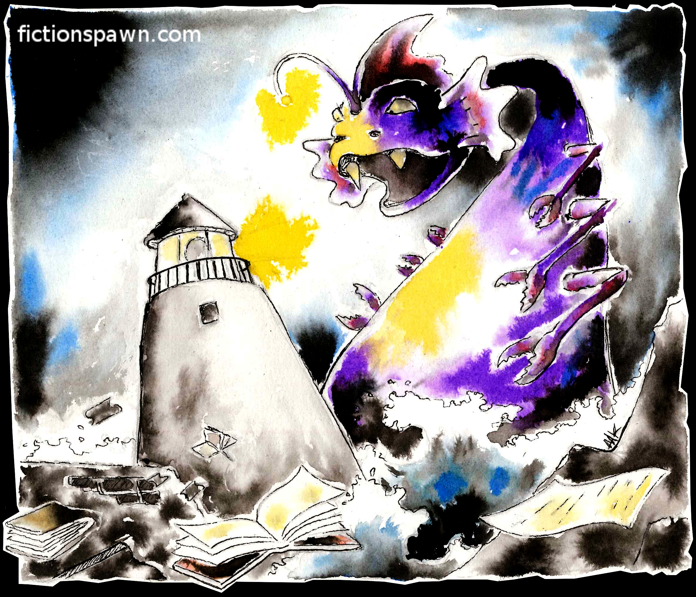 A monster and a lighthouse. Aak fictionspawn