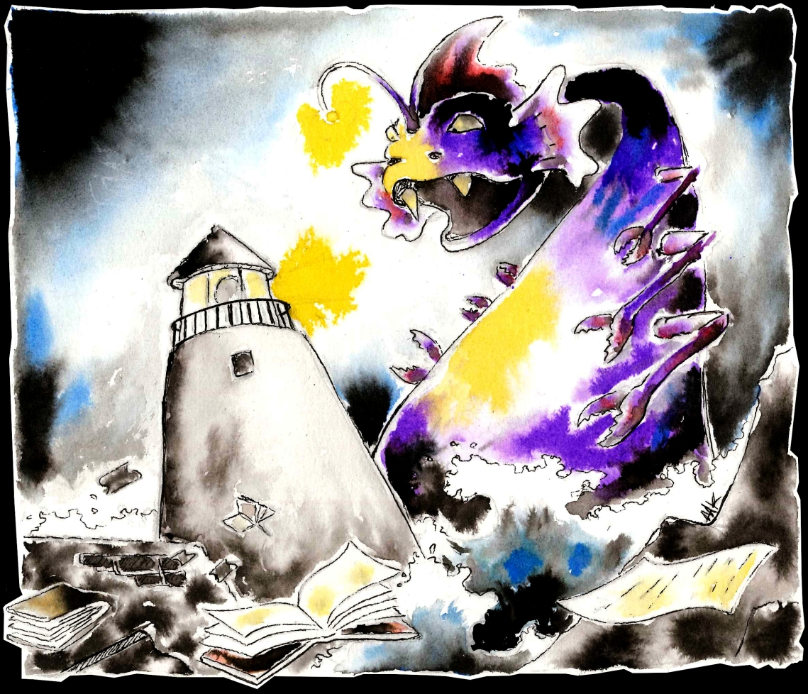 A monster and a lighthouse. Books. Aak fictionspawn