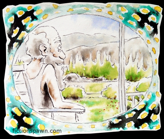 Old man on the balcony. Landscape. Aak fictionspawn