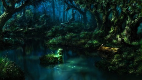 640x360_15162_night_memories_2d_fantasy_landscape_game_art_mermaid_forest_picture_image_digital_art