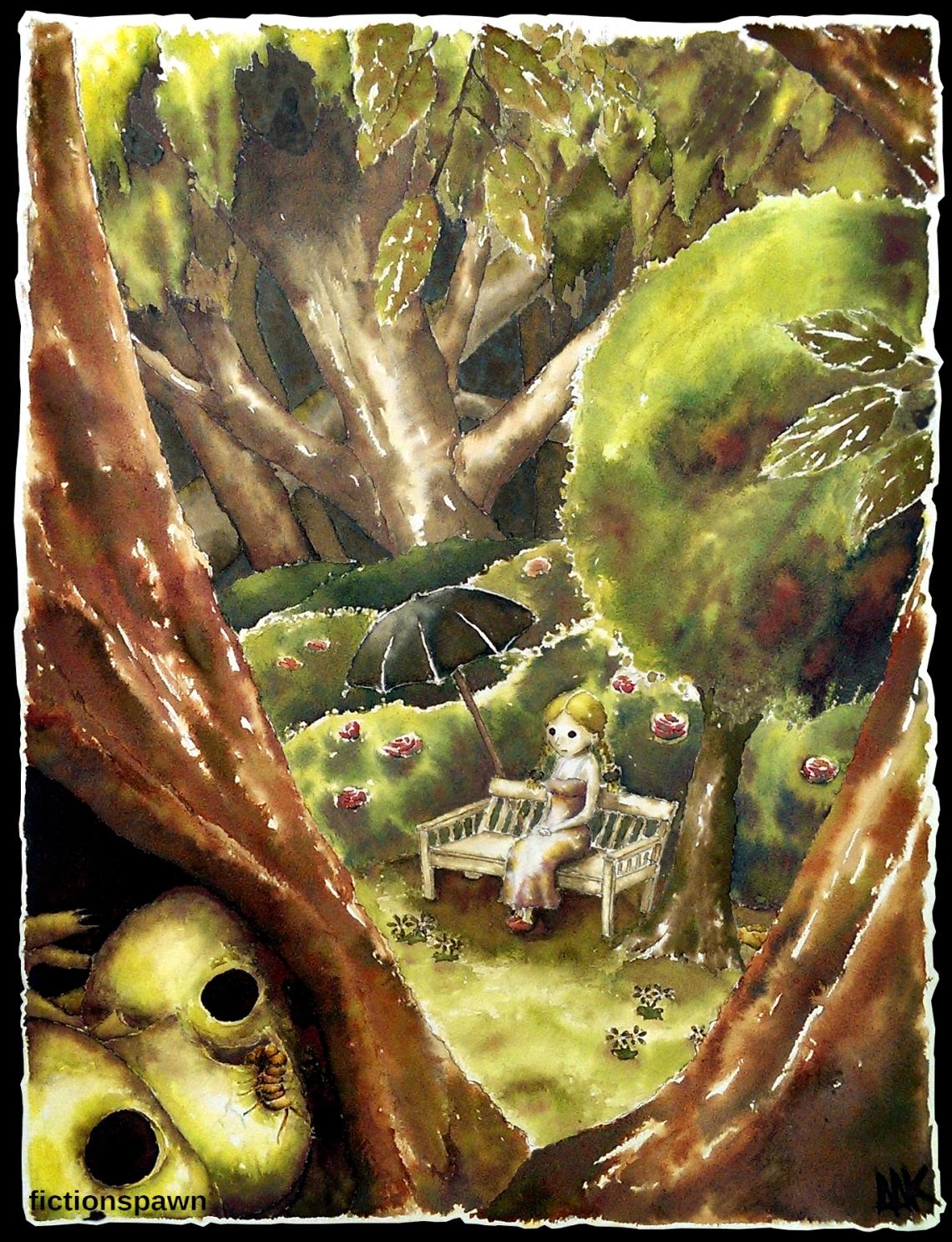 Girls in a dark forest. Skulls. Aak fictionspawn.