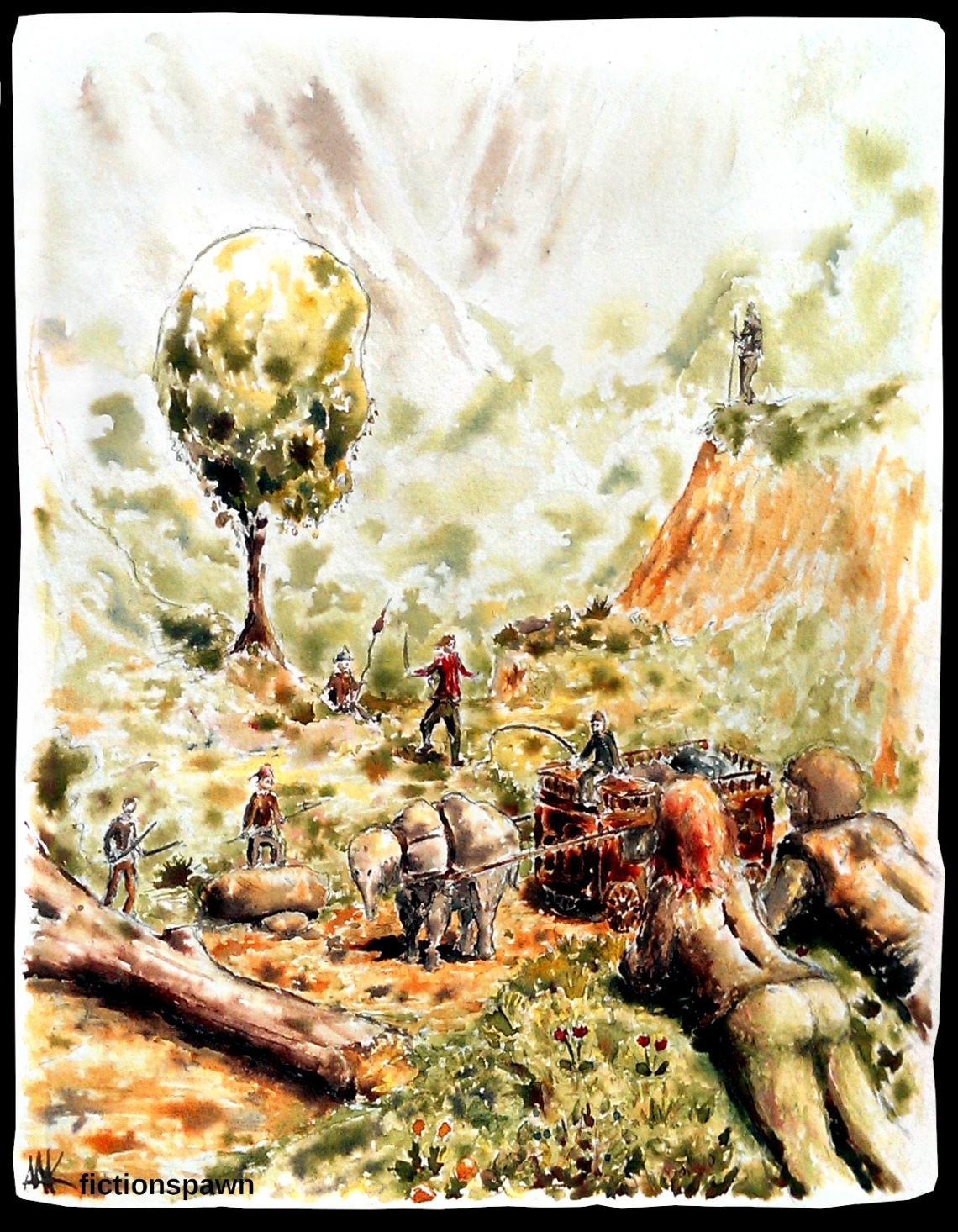 Bandits attacking a transport Aak fictionspawn ink illustration