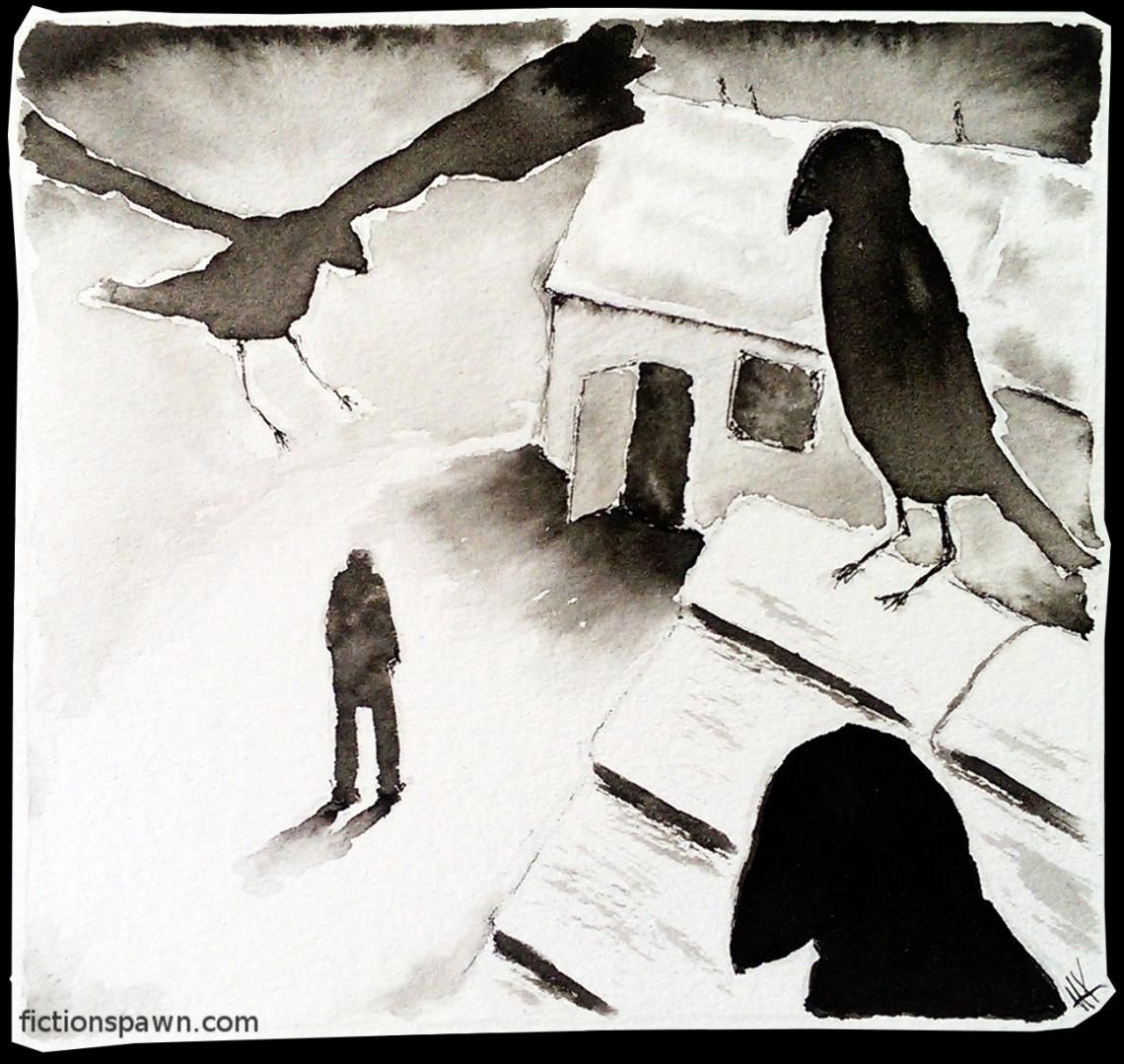 Crows ink illustration.