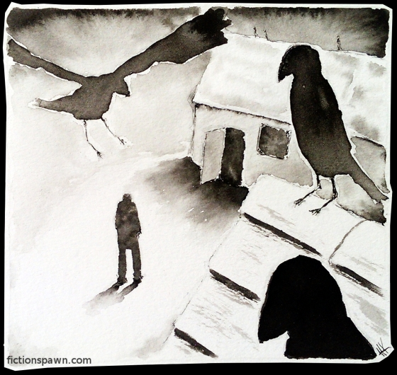 Crows ink illustration.