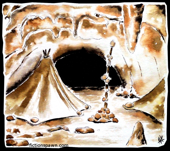 Tribal tent in a tunnel. Aak fictionspawn
