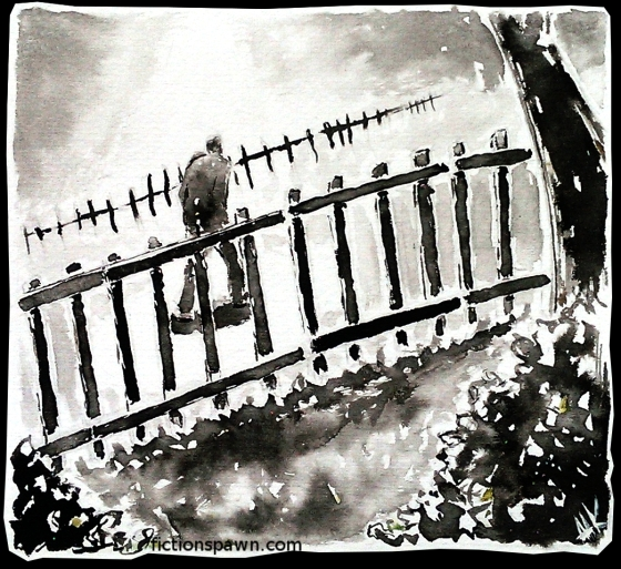 A man walking by a garden fence. Aak fictionspawn