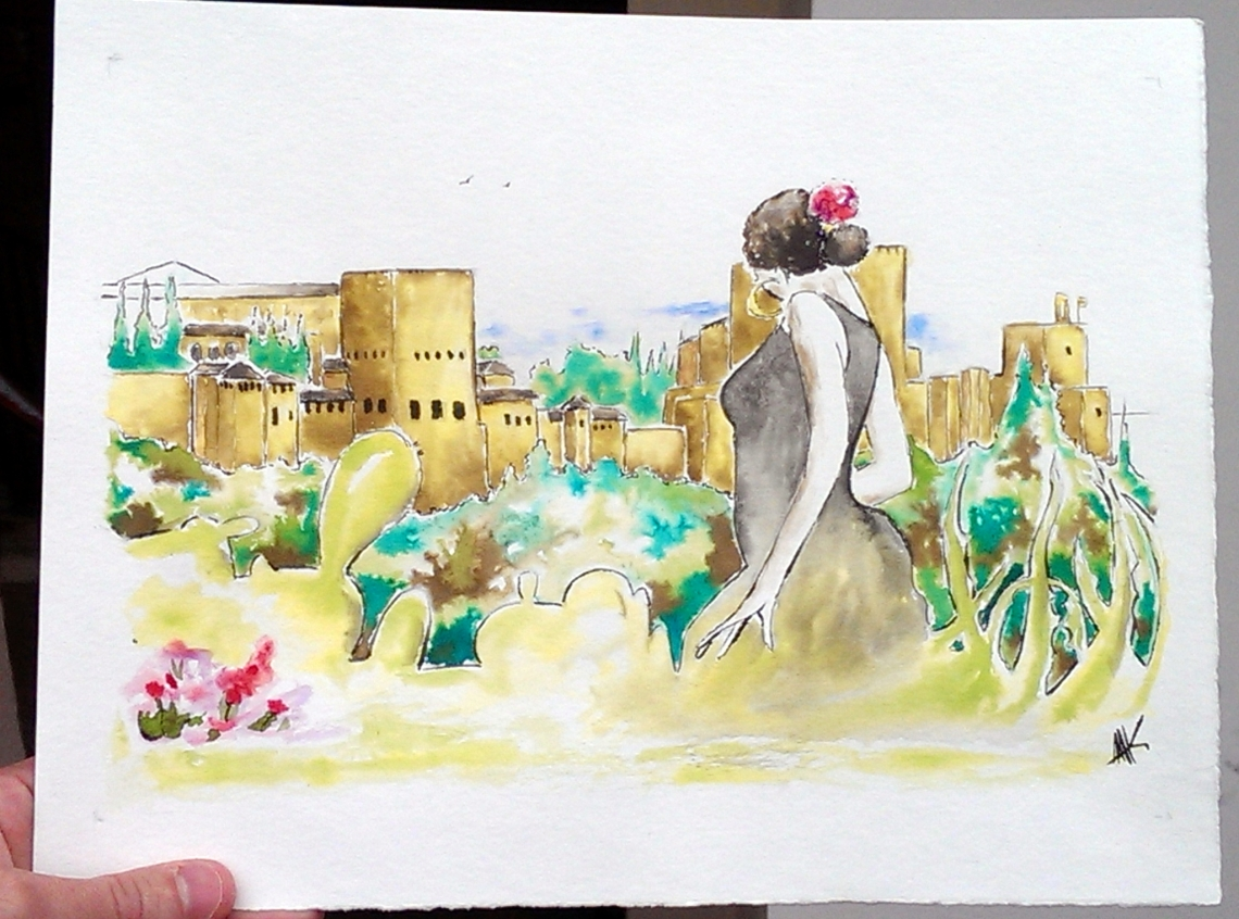 Flamenca in front of Alhambra. Aak fictionspawn