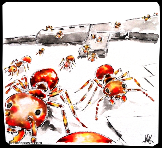 Ants walking over a rifle. Aak fictionspawn