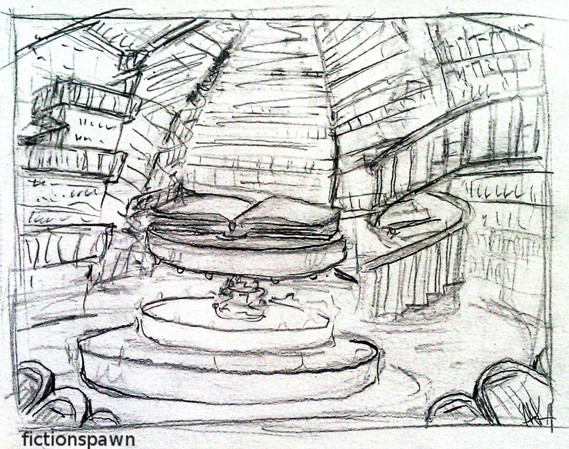 Sketch of a library. Aak fictionspawn