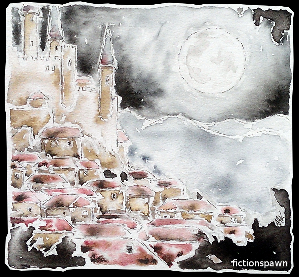 A full moon over a middle age town. Castle. Aak fictionspawn