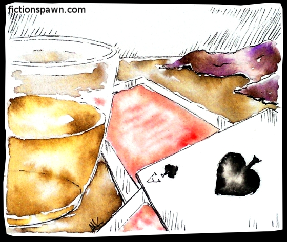 Whiskey and playing cards. Aak fictionspawn