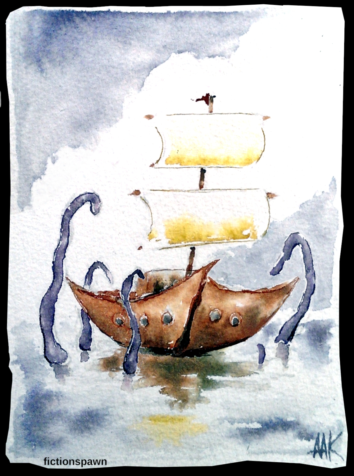 Tentacles attacking a sailboat Aak fictionspawn
