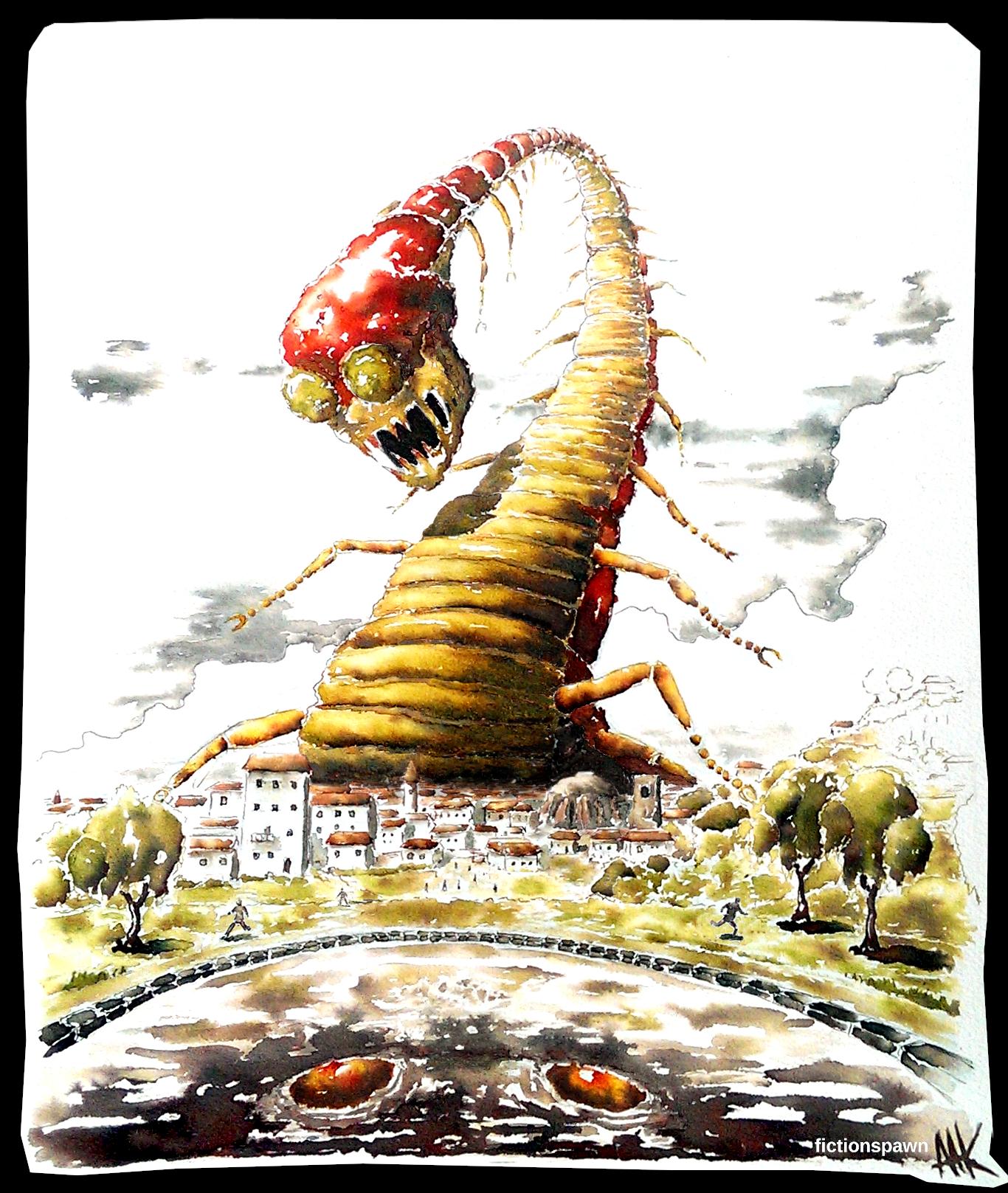 An arthropod monster attacks a city. Aak fictionpawn