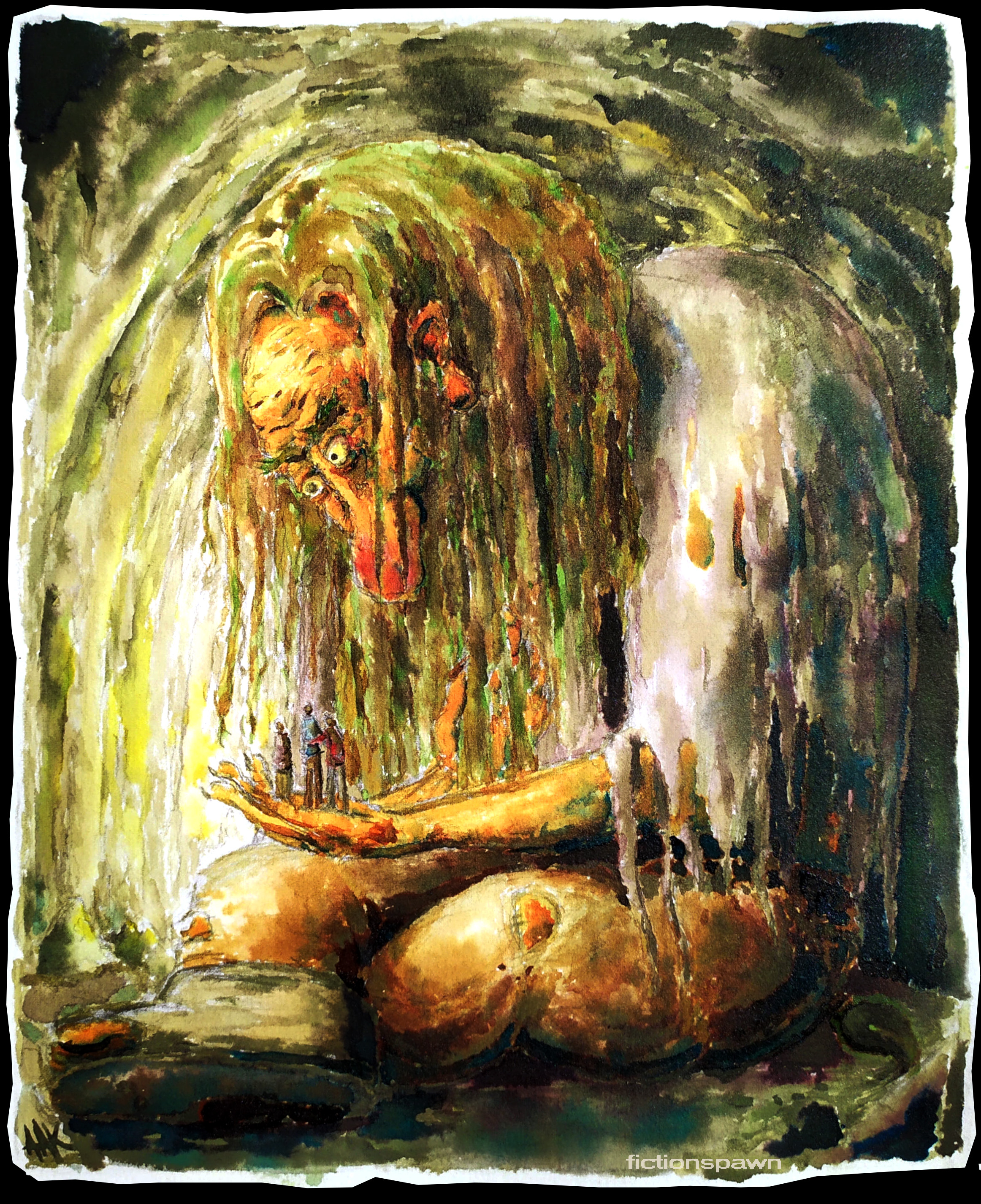 A troll holds three men in a cave. Aak fictionspawn