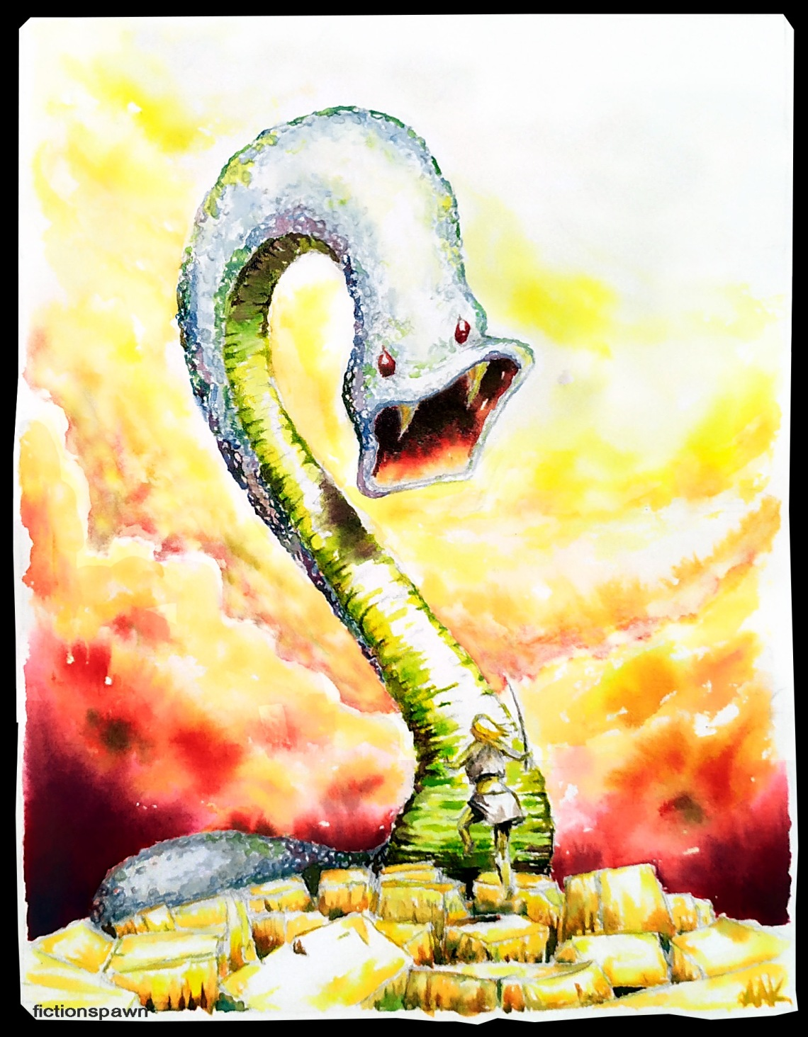 Snake worm monster Aak fictionspawn
