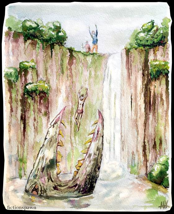 Waterfall monster Aak fictionspawn